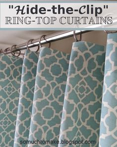 Sewing Curtain hide the clip ring top curtains, home decor, window treatments - My favorite curtain hardware for function is probably the ring-top. It consistently slides smoothly and is a cinch to put up and take down. Ring-top has NOT bee… No Sew Curtains, Pergola Curtains, Drop Cloth Curtains, Rustic Curtains, Rod Pocket Curtains, White Curtains, Hanging Curtains, Kitchen Curtains, Bathroom Curtains