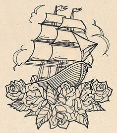 Thread Tattoos - Ship and Roses design (UT6716) from UrbanThreads.com