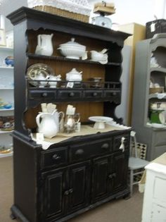 ~~~~Black Open Hutch~~~~  This does it!  I have to paint the pine hutch from my dad's house!