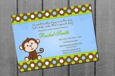 Monkey Baby Shower Invitation Card Printable by NorthernDesigns, $9.00