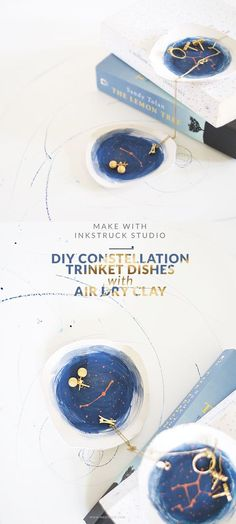 DIY constellation art on air dry clay trinket dishes-Inkstruck Studio