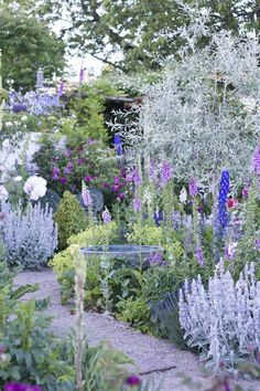 A charming green area with purple flowers # rural green area # ideas ., # flowers - mycottagegarden - garden happiness in the country house garden, cottage garden & cottage garden - decoration - Anime Line Garden Deco, The Secret Garden, Garden Cottage, Backyard Cottage, Backyard Landscaping, Landscaping Ideas, Backyard Ideas, Walkway Ideas, Path Ideas