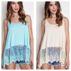 """Babydoll boho top with trim lace Brand Babydoll  Boho with trim lace tank . Available in Color Ice or Tan . DO NOT BUY COMMENT ON  YOUR SIZE AND ALLOW ME TO CREATE A LISTING FOR YOU.  Small fits Bust 36"""", Length 29"""",  Medium Bust 38"""", Length 29"""", Large Bust 40"""", Length 30"""".  Price firm.  Bundle and save 10% Flirty Meow Boutique Tops Tank Tops"""