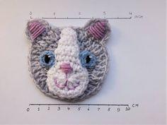 Cat Applique Crochet Applique Crochet Cat Gray Cat Sew on Crochet Applique Patterns Free, Cat Applique, Modern Crochet Patterns, Crochet Lace Edging, Crochet Beanie Pattern, Crochet Baby Jacket, Crochet Baby Boots, Beginner Crochet Projects, Crochet Bookmarks