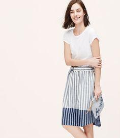 Image of Border Stripe Midi Skirt