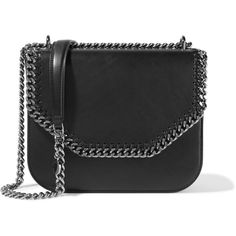 Stella McCartney The Falabella Box faux leather shoulder bag (3.765 RON) ❤ liked on Polyvore featuring bags, handbags, shoulder bags, black, snap closure purse, snap purse, synthetic leather handbag, vegan leather handbags and faux leather handbags