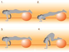 Exercise Ball Ab and Arm Workout  Get on the Ball: Push-Up With Tuck Crunch