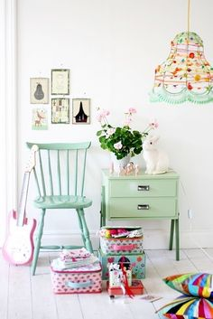 All things nice...: Pretty Pastels... I have 2 black side tables that would be perfect for this.