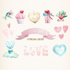 Valentines Clipart, Love Clip Art, Romantic, Heart, For her, In Love, Love Letters, Pink Aqua, watercolor love by DigiPPP on Etsy