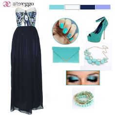 #vestido #largo #strapple #estampado #azul #marino #blanco #aquamarine #verde #agua #chiffon #moda #fashion