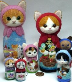 "Needle felted babushka cats a/k/a/ Russian Matryoshka dolls.   These are from the ""It's a small world"" collection of Japanese felting artist Rika Fujimoto."