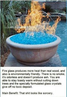 Fire Glass does not burn.   The fire comes from gas.  http://en.wikipedia.org/wiki/Fire_glass