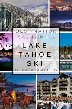 Take a look at the best Lake Tahoe Ski Resorts, lodges and villas for slopeside getaways. Lots of pictures, video and couples and family travel deals here. California Ski Resorts, Tahoe Ski Resorts, California Attractions, Lake Tahoe Vacation, Lakes In California, Tahoe California, California Travel, Travel Deals, Travel Usa
