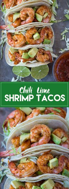 Lime Shrimp Tacos These chili lime shrimp tacos are super flavorful and take less than 30 minutes to make. Gluten free and Dairy free.These chili lime shrimp tacos are super flavorful and take less than 30 minutes to make. Gluten free and Dairy free. Healthy Shrimp Tacos, Shrimp Taco Recipes, Mexican Food Recipes, Shrimp Taco Slaw, Raw Shrimp Recipe, Simple Shrimp Taco Recipe, Shrimp Dinner Recipes, Heathly Dinner Recipes, Shrimp Fajitas