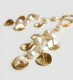 Cascade Earrings with White Pearl  Brushed Gold Discs Bridal Wedding Fashion by Flow Designs