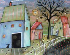 Blue Barn 8x10 inches Canvas Panel PAINTING Original FOLK ART Landscape Karla G #FolkArtAbstractPrimitive