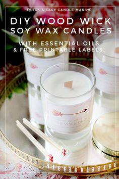 DIY Wood Wick Candles with Soy Wax and Essential Oils - Swoon Worthy - How to easily create beautiful natural candles using soy wax and essential oils with a wood wick! Wood Wick Candles, Soy Wax Candles, Candle Wax, Scented Candles, Diy Candle Wick, Candle Wicks, Fragrant Candles, Candle Craft, Yankee Candles