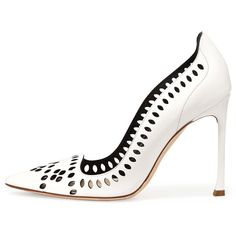 Dior Laser-Cut Leather 100mm Pump, White (1.610 BRL) ❤ liked on Polyvore featuring shoes, pumps, leather footwear, genuine leather shoes, laser cut leather shoes, real leather shoes and white court shoes