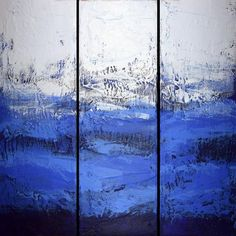 Items similar to EXTRA LARGE WALL art triptych 3 panel wall ultramarine blue paintings on canvas original abstract kunst Peintingu blue 48 x on Etsy Abstract Landscape Painting, Blue Painting, Large Painting, Hand Painting Art, Abstract Canvas, Painting Frames, Landscape Art, Landscape Paintings, Painting Canvas