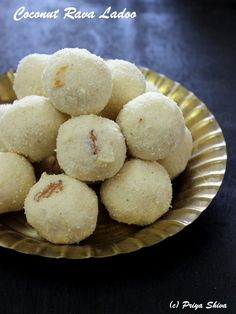 Coconut rava ladoo are sweet treats made with semolina and coconut. This sweet is usually made for festivals or special ocassions.