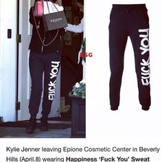 Kylie Jenner rocking the Happiness Brand F*** You sweatpants! Buy your pair here! http://us.shophappiness.com/catalogsearch/result/?cat=0&q=sweatpants+fuck+you