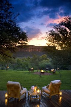 This photo was taken in Africa, but sitting on a deck at dusk, surrounded by candlelight is bliss anywhere . . .