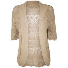 Janisramone Ladies Bolero Shrug Knitted crochet Cardigan Womens Top... ($2.99) ❤ liked on Polyvore featuring tops, cardigans, shrug top, pink shrug, pink shrug cardigan, macrame top and cardigan shrug