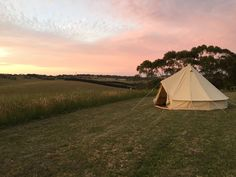 Bell tent in sunset