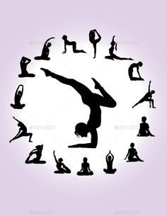 Buy Yoga Silhouettes by martinussumbaji on GraphicRiver. Yoga Poses Woman's Silhouette, art vector design. Ai CS, JPEG and EPS. Silhouette Art, Woman Silhouette, Yoga Position, Yoga Drawing, Yoga Tattoos, Mickey Mouse Art, Workout Posters, Yoga Pictures, Peace Quotes