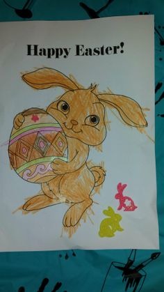 Easter bunny colouring-in.
