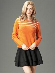 Orange Fashion Round Neck Wave Striped Knitted Sweater