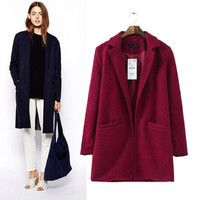 Notched Collar Long Sleeve Long Coat with Double Pockets