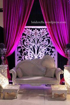 Purple and white mandap (stage)