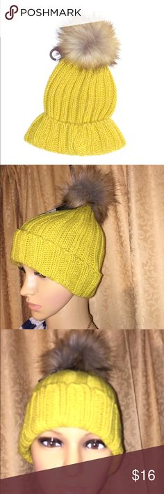 Yellow Cable Knit Pom Pom Beanie Hat Brand new! Fashion forward Cable Knit hat that is mustard yellow with a pom pom on top. Super cute and large cable knit that is super comfortable. Beat the chill while being chic. ✨✨✨Bundle and save!✨✨✨ Accessories Hats