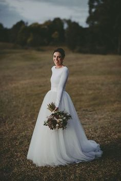 Simple Long Sleeves Wedding Dress,White Chiffon Bridal Dress,Simple Ball Gown