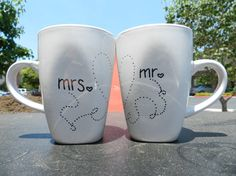 Mr. & Mrs. Mugs- just made these with blank mugs, sharpie, and baked them in the oven