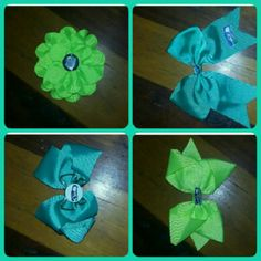 ?? Handmade Seattle Seahawks Hairbows ?? These are handmade Seattle Sea hawks hair bow clips a bundle of 4. Accessories Hair Accessories