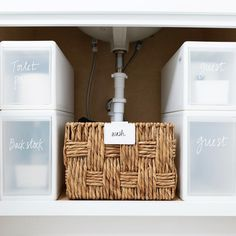 If you have deep under-sink storage, these stackable modular drawers are perfect. Especially in a guest room where you can hold everything… Countertop Organization, Under Sink Organization, Under Sink Storage, Linen Closet Organization, Bathroom Organization, Counter Top Sink Bathroom, Bathroom Niche, Sink Countertop, Master Bathroom