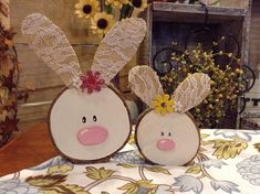 Wood slice bunny magnets Easter Bunny Cute by TheTatteredPallet