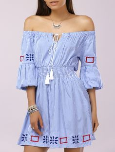 Boat Neck Tie Striped Print Embroidered A-line Tunic Dress