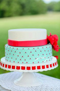 JD Designs Styled: Julie Surette Photography ( Two Cups of Sugar, wedding cake, red and turquoise cake, polka dot cake)