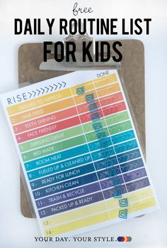 Daily Check List free printable for kids daily morning or afternoon routine by Your Day. Your Style.com ©2016