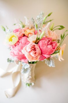 Bouquet of peonies and garden roses. Photo by Mirelle Carmichael Photography (via Style Me Pretty).