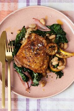 Skillet Chicken (bone-in thighs) with White Beans and Caramelized Lemon Recipe - NYT Cooking Cook Skins, Chicken Skillet Recipes, Turkey Recipes, Lemon Chicken, Crispy Chicken, Chicken Seasoning, White Beans, Entrees, Cooking Recipes