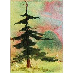 Watercolor of a lone fir tree in shades of green with background of pink and green. Artist grade watercolors on 140 lb. watercolor paper. Just 3.5 x 2.5 inches, standard size for an artist card. Miniature and collectible. Fir Tree comes in an acid-free, clear plastic bag and will be protected by cardboard in an envelope while in transit. Titled, signed and dated on back. Fourth photo is an example of a finishing treatment only of how the painting might look.    Such beauty in an evergreen…
