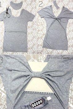 Diy clothes - 37 Truly Easy No Sew DIY Clothing Hacks – Diy clothes Diy Clothes Hacks, Diy Clothes Refashion, Clothing Hacks, Tween Clothing, Refashioned Clothing, Clothes Crafts, Diy Shirts No Sew, T Shirt Diy, Diy Tshirt Ideas