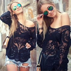 Women Sexy Lace blouse full sleeves 9 colors Crochet feminine tops blusas casual slim off shoulder basic shirts hollow out smock Black Lace Blouse, Black Lace Tops, Spring Shirts, Embroidered Lace, Ideias Fashion, Fashion Tips, Fashion Trends, Fashion Bloggers, Women's Fashion