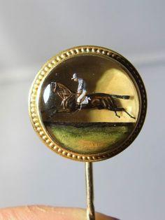 Victorian Essex Crystal Jockey Horse 18K Gold Brooch Pin