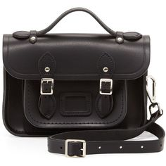Cambridge Satchel Company Classic Mini Leather Satchel Bag, Black found on Polyvore