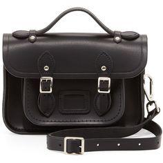 Cambridge Satchel Company Classic Mini Leather Satchel Bag, Black found on Polyvore
